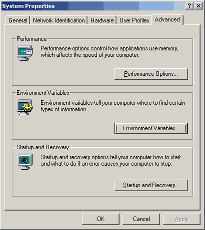 Windows 2000 Advanced Tab of System Properties Control Panel
