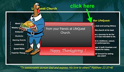 LifeQuest Church main menu w/popup