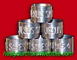 EBAY - 15 UNIQUE 'JESUS SAVES' GOOSE LEG BANDS