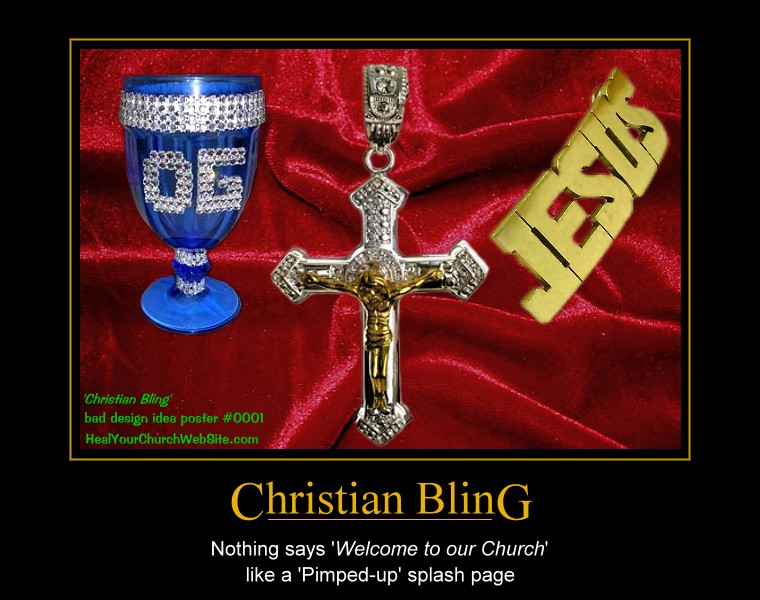 Bad Church Website Design Poster #0001 – Christian Bling | Heal Your ...