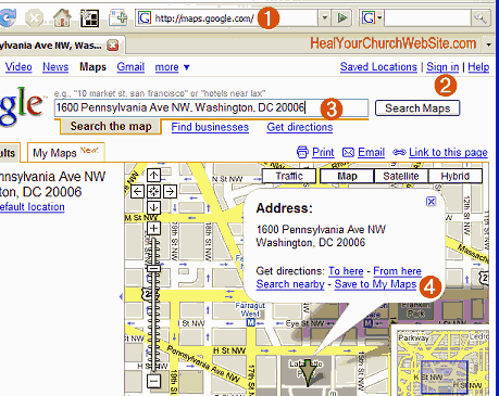 Steps 1-4 of how to embed a google map