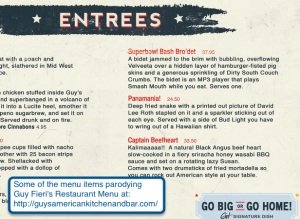 A snippet of the Guy Fieri Faux Menu fun