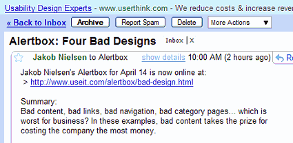 Jakob Nilesen's altert box email of 14-Apr-08