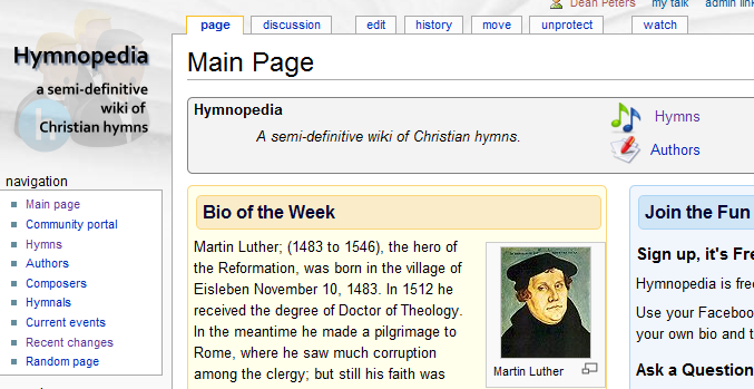 Hymnopedia - a semi-definitive Wiki of Christian blogs