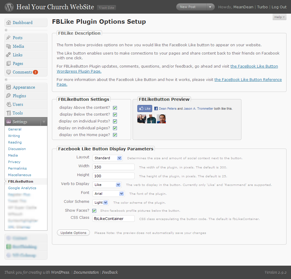 Screenshot of the FBLikeButton Admin Panel - now with preview