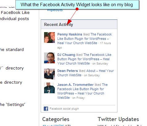 How the Facebook Activity Feed Widget appears on a blog.