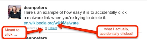 How the Twitter delete DM links can sometimes be too close to a malware link
